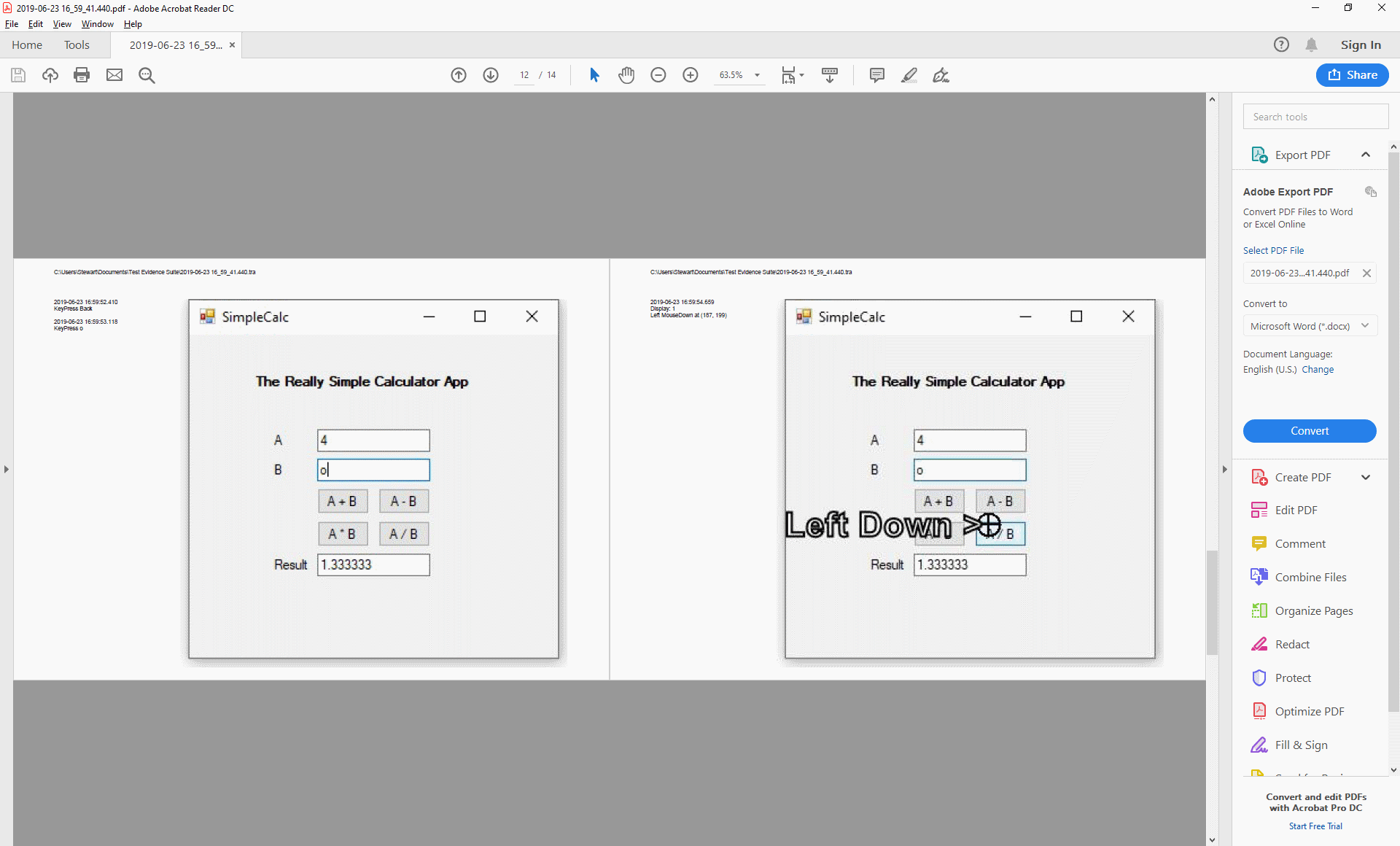 PDF Export with Mouse Text